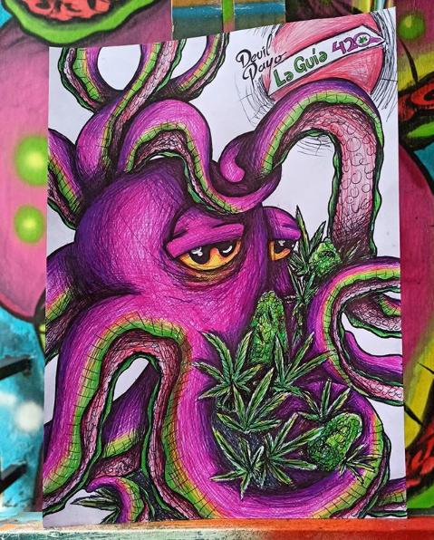 Dibujo de Pulpo y hojas de cannabis